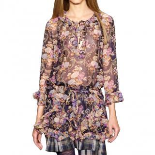 Anna Sui Floral Print Silk Mini Dress