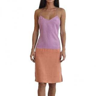 Tibi Purple Color-block V Neck Cami Dress