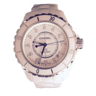 Chanel J12 Ladies White Ceramic/Diamonds Watch