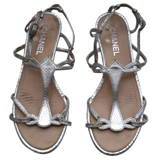 Chanel silver snakeskin sandals