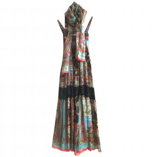 Dress Dolce Gabbana printed silk Sicily dress with matching silk stole