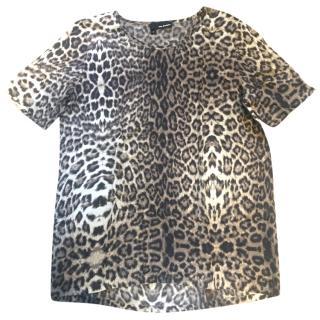 Kooples leopard-print silk t-shirt