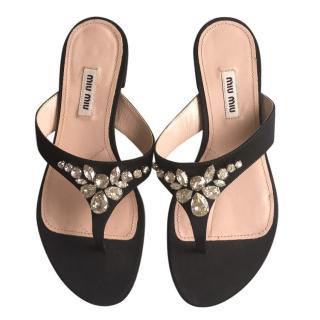 Miu Miu Jewelled Satin Sandals