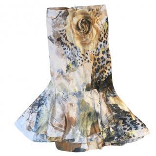 Roberto Cavalli floral silk skirt