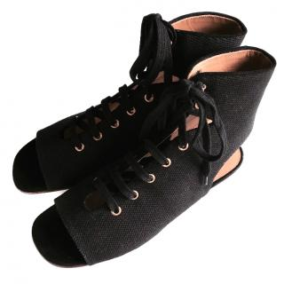 Chloe Black Ines Lace-up Sandals