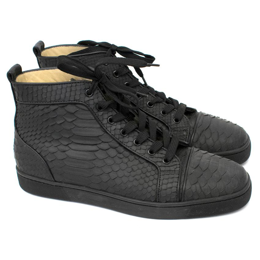 quality design bf2bb fa819 Christian Louboutin Black Python High Top Sneakers
