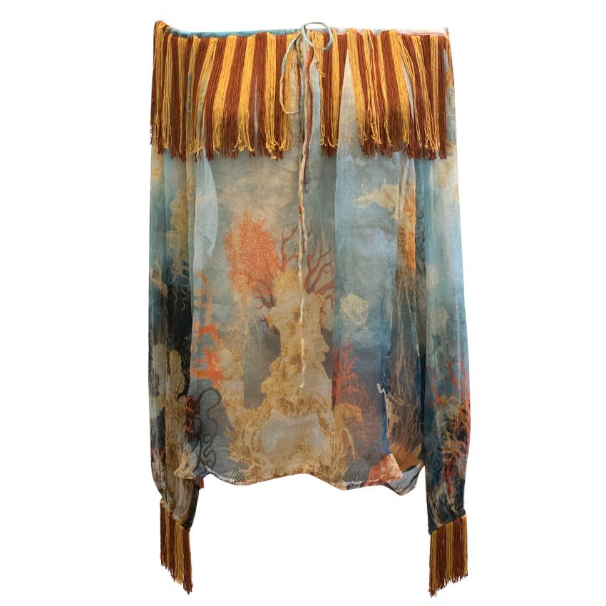 Jean Paul Gaultier Sheer Silk Printed Off The Shoulder Top