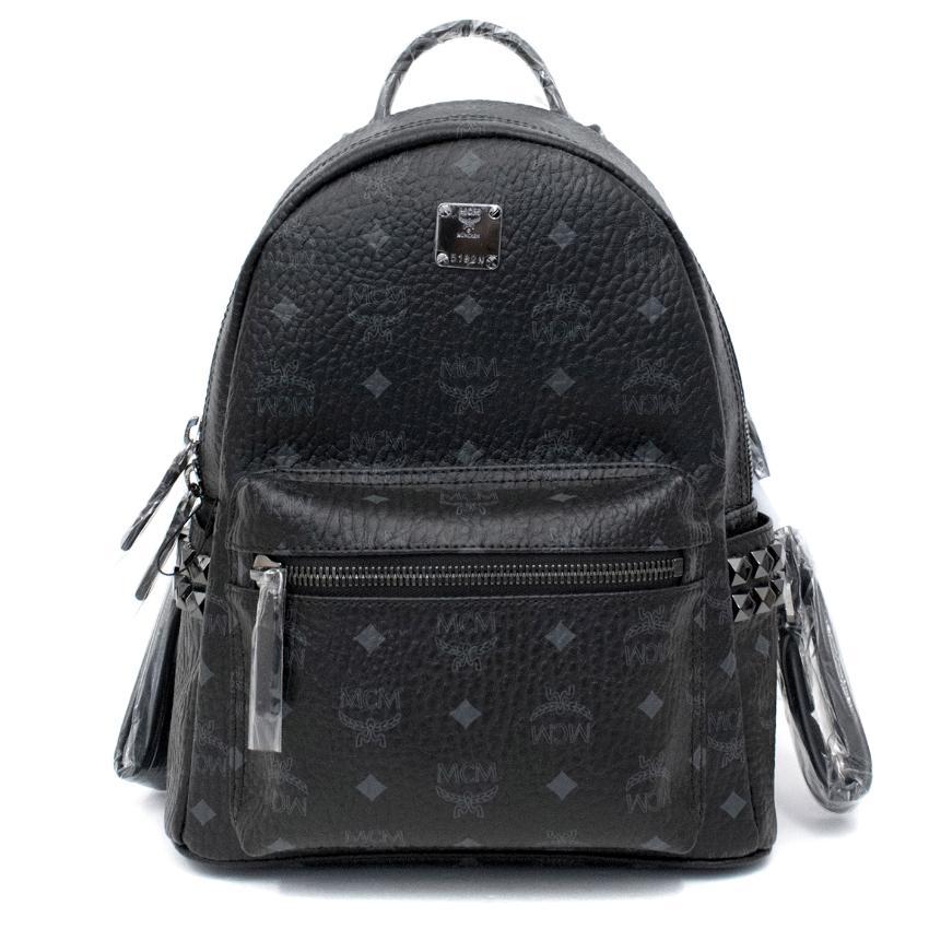 MCM Black Leather Stark Studded Backpack
