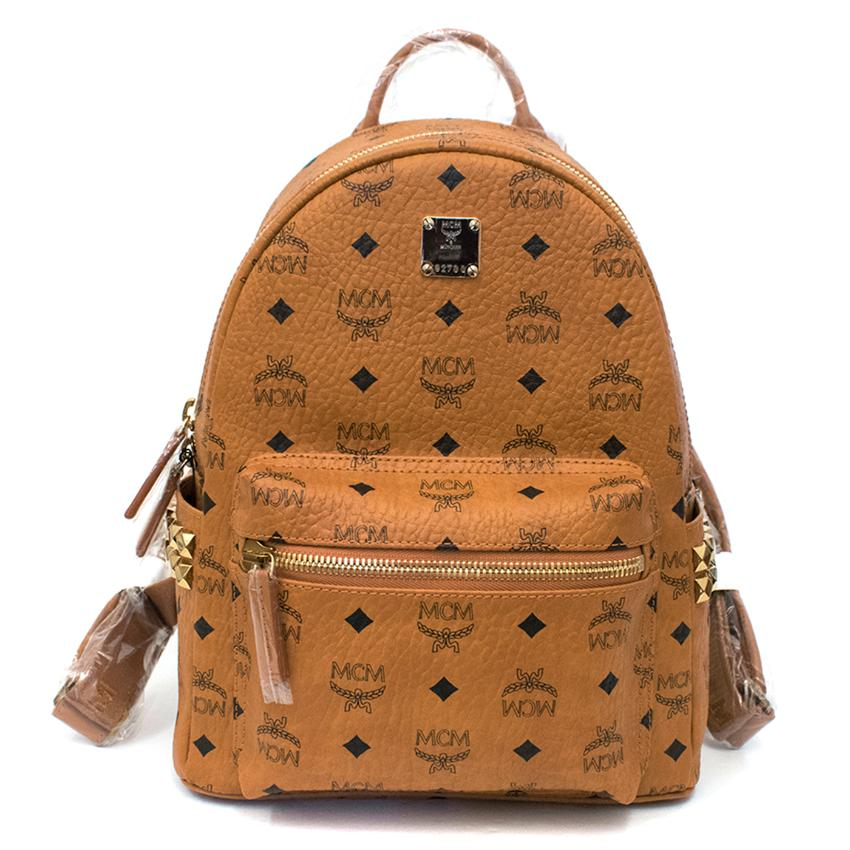 MCM Tan Stark Classic Small Backpack