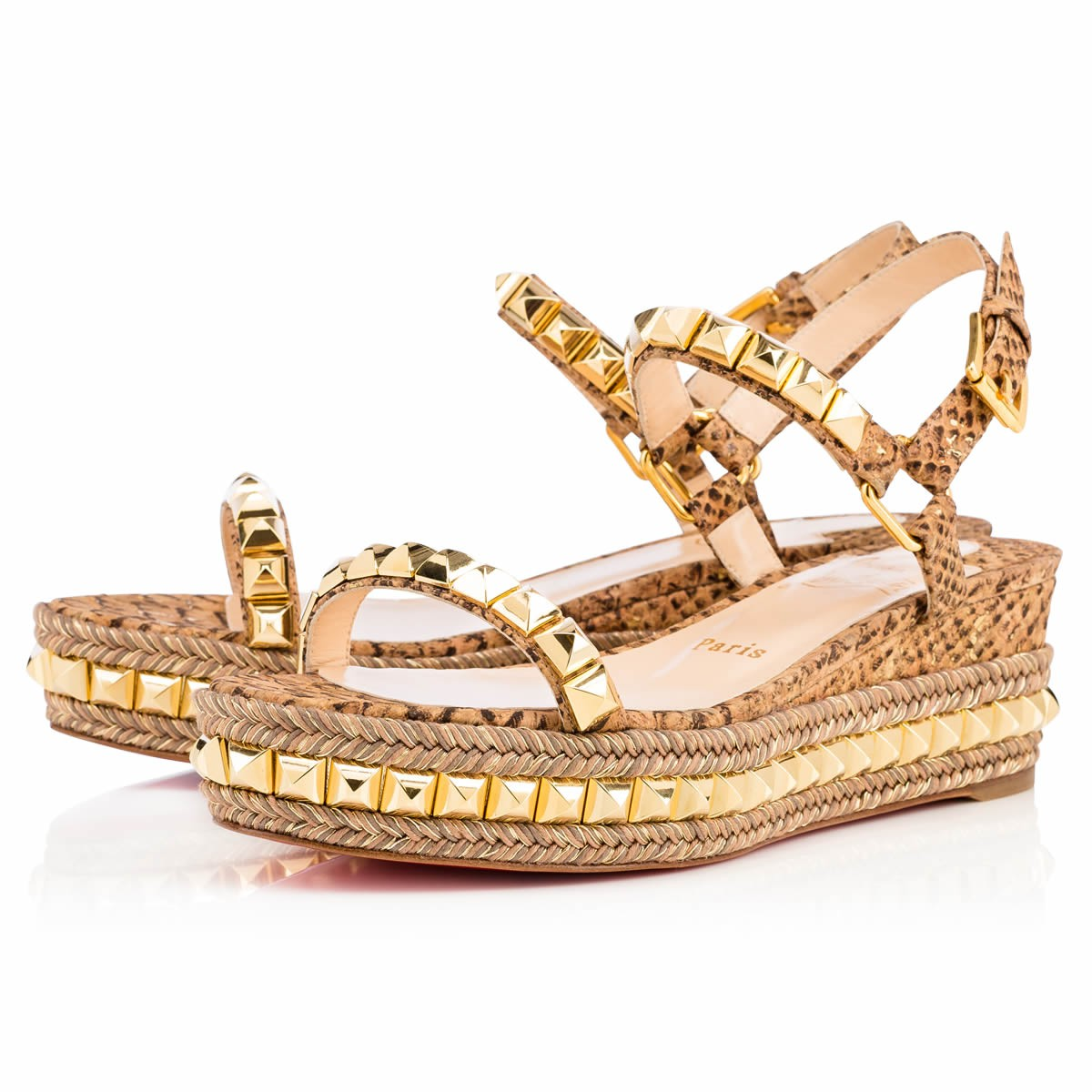 new style bb186 1ee66 Christian Louboutin Cataclou 60 studded snake-effect cork platforms