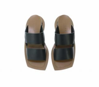 Marni Black Leather Flat Sandals
