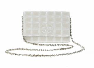 Chanel Beige Fabric Wallet on Chain
