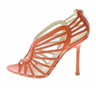 Jimmy Choo orange leather sandals
