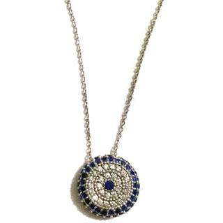 Diamond Club white gold with diamonds and sapphire evil eye necklace