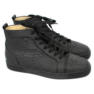 Christian Louboutin Black Python High Top Sneakers
