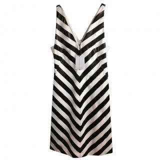 Jonathan Saunders Black/White Nicola Foil-Stripe Bias Dress