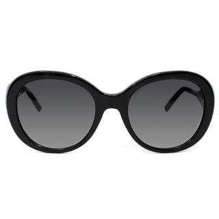 Burberry Womens Black Rounded Sunglasses