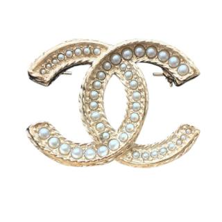 Chanel Gold Plated Pearl Brooch