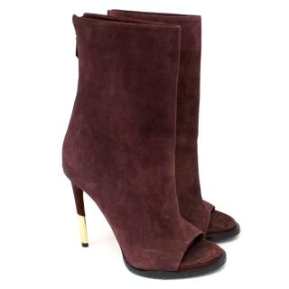Givenchy Plum Suede Peep Toe Boots