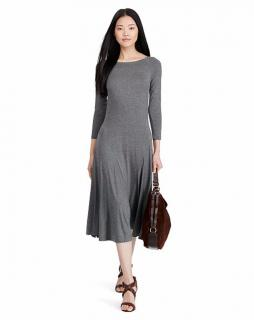 Ralph Lauren Women's Fortress Grey Heather Dresses Fit-and-Flare
