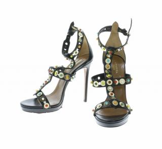 Aquazurra Black Leather Sandals