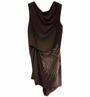 Asymmetric Studded Black Midi Dress BCBG Max Azria
