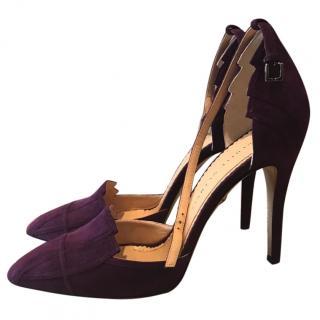 Charlotte Olympia purple suede heels