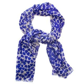 Beulah Blue Heart Print Scarf