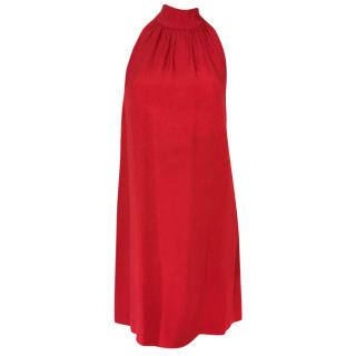 Max Mara red crepe dress with high neck