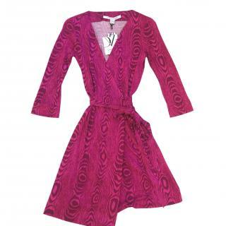 Diane von Furstenberg DVF Julian Two Pink Mini Wrap Dress