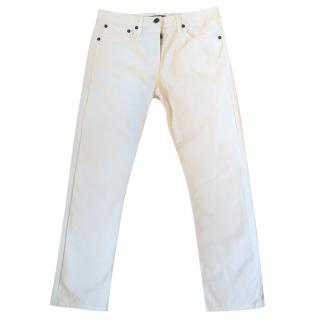 THE ROW Ashland cream slim leg ankle crop jeans