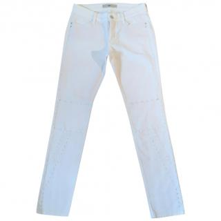 MAC+ white slim fit stretchy jeans with embroidered detail