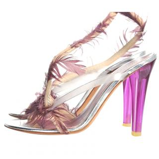 Alexander McQueen tall sandals with feathers