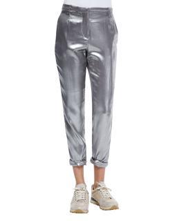 Brunello Cucinelli Silk Silver Trousers