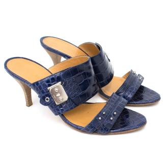 Hermes Blue Alligator Mules