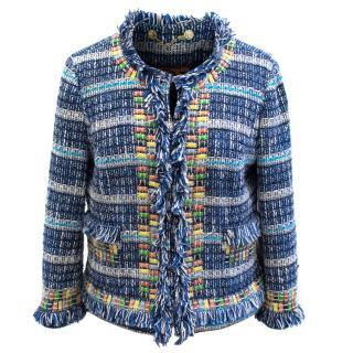 Tory Burch Multicoloured Embellished Woven Tweed Jacket