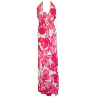 Celine, pink flower print, neckhalter maxi dress