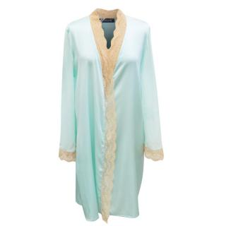 Myla Cyan Silk Short Robe