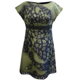 Prada Green And Black Printed Silk Dress