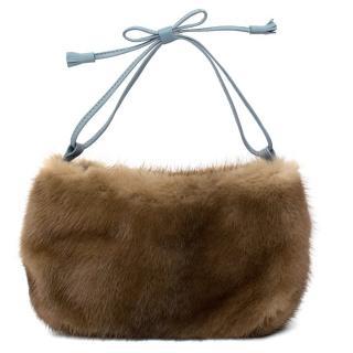 Anya Hindmarch Brown Mink Fur Clutch Bag