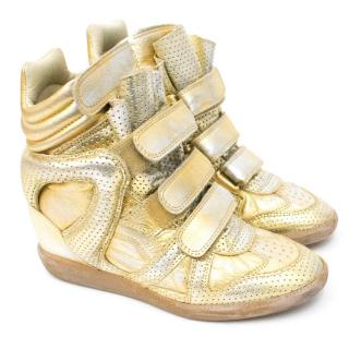 Isabel Marant Gold Metallic Bekket Sneakers
