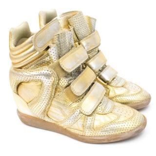 Isabel Marant Gold Metallic Bekket Sneakers