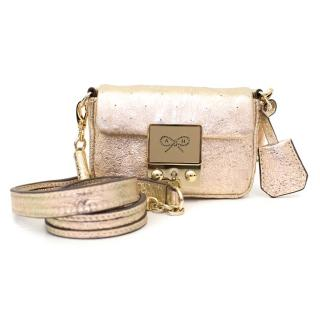 Anya Hindmarch Gold Textured Leather Micro Cross Body Bag
