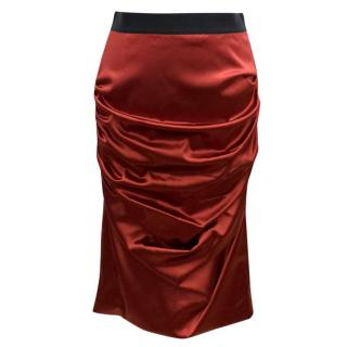 Dolce & Gabbana Red Satin Pencil Skirt