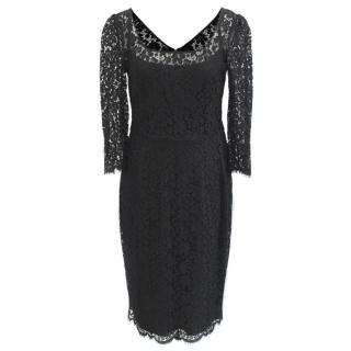 Dolce & Gabbana Black Lace Midi Dress