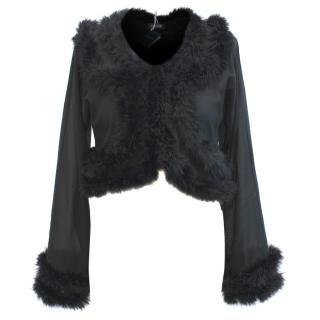 Myla Mae Black Silk Feather Trim Short Boudoir Jacket