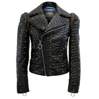 Gucci Black Studded Quilted Biker Jacket