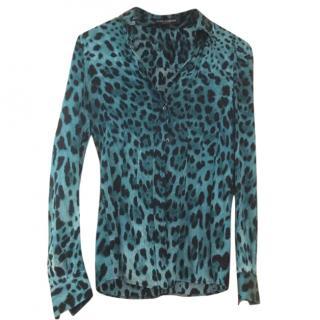 Dolce & Gabbana Blue Leopard Print Silk Shirt