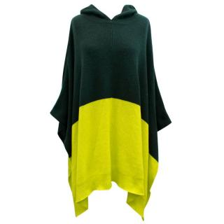 Chinti And Parker Green And Yellow Cashmere Poncho