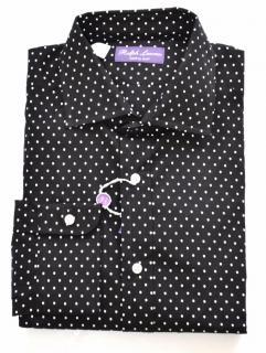 Ralph Lauren Purple Label 'Aston' black dot cotton shirt
